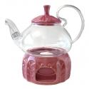 Стеклянный чайник Элегия Ред, 600 мл с подставкой подогревателем