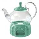 Стеклянный чайник Элегия Грин, 600 мл с подставкой подогревателем